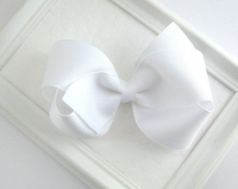 Girls Large White Classic Boutique Hair Bow  Clip, First Communion Hair, Flower Girl Accessories, Toddler, Girls