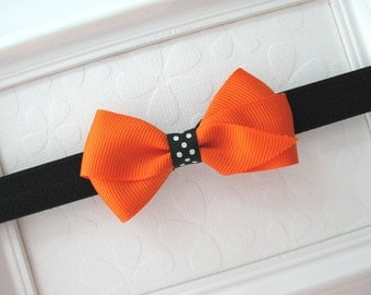 Halloween Headband, Baby Headband, Infant Headband, Toddler Headband, Orange and Black Headband, Baby Bows, Bow Headband, Halloween Hair Bow