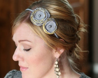 Woman's Double Flower Headband in Grey and Butter Yellow