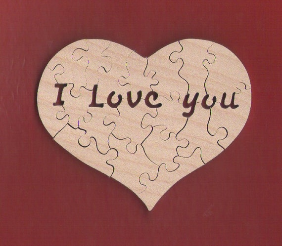 """Heart Puzzle with Secret """"I Love you"""" Message (16-20 pieces) MINI size 3.75"""" for Valentine's Day, Birthdays etc"""