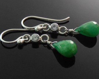 SALE - Green and White Sapphire and Sterling Silver Earrings, Green Sapphire Briolette Earrings, Green Corundum Earrings