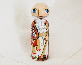 St Nicholas - Catholic Saint Toy - Wooden Peg Doll - Made to Order