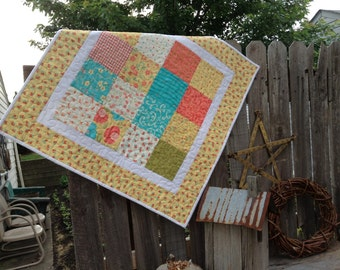 "QUILTED TABLE TOPPER,  26"" Square, Small Baby Quilt, Stroller or Car Seat Quilt,  Country Kitchen,  Floral Fabrics, Yellow, Coral, Turq."