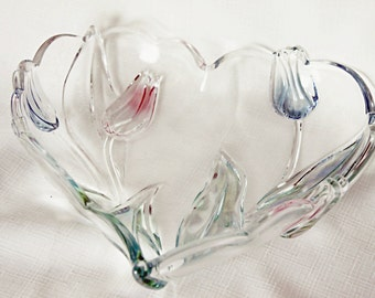 Vintage Crystal Heart Bowl Clear with tinted & embossed Pink tulips Green leaves