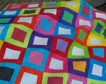 handmade colorful bright modern contemporary baby crib quilt or wall hanging