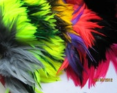 "Set of Strung Rooster Saddles Feathers in 10 colors - total of 10""  (individual feather around 3""-6"")"