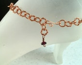 Natural Copper Ankle Bracelet with Garnet Bead Charm Adjustable up to 11.25 Inches Long / Handmade Copper Anklet With Your Choice of Clasp