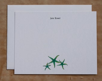 Starfish Seastar Sealife Teal Green Custom Notecard Stationery. Thank You, Any Occasion, Personalize Watercolor Print, Set of 10.