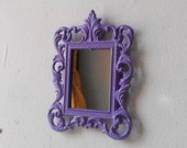 Miniature Wall Mirror in Decorative Vintage Lavender Frame