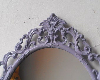 Oval Mirror in Vintage 13 by 9 Inch Metal Lavender Gray Frame, Nursery Wall Decor Mirror, Wall Collage, Apartment Decor, Made Italy