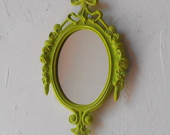 Small Mirror in Vintage Spring Green Frame, Beach Home Decor, Cubicle Wall, Decorating Ideas, Green Nursery, Retro Kitchen