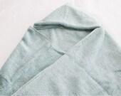 Large Hooded Baby Bath Towel - greenish grey sea foam