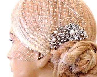 birdcage veil and a bridal comb (2 Items) -  Swarovski Pearls Comb,Wedding comb,bridal headpieces , rhinestone bridal Hair comb