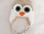Crochet Owl Hat Newborn to 12 Months Tan White