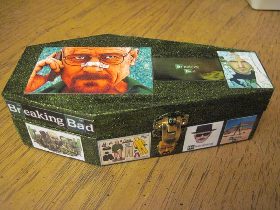 Breaking Bad Hand Crafted Painted and Decoupaged Wood  Coffin Box