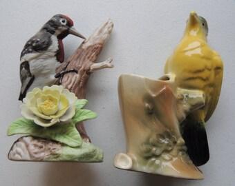 vintage royal copley yellow bird planter, and free wood pecker figurine