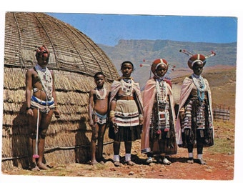 6 Vintage Costume Postcards - Africa - Traditional Costumes