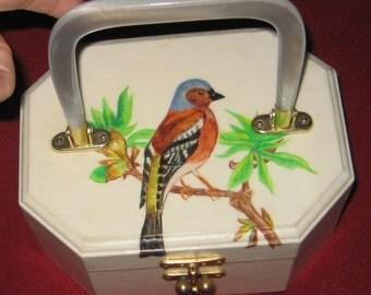 Sale sale Spring Is In The Air Fun Wood Hand Painted  Bird Finch Purse Handbag 1975 By Gen Sweet