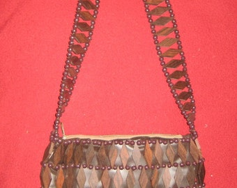 BohO Chic Wood Triangle and Platic Beaded Purse Groovy Baby