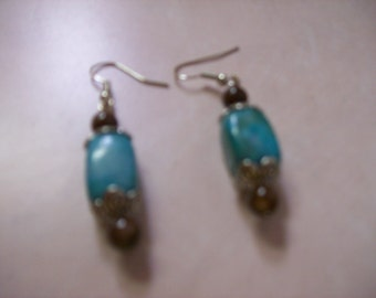 Teal blue and brown stone earrings.