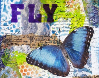 Fly - an original mixed media collage on canvasboard
