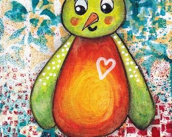 "Janice - an original mixed media painting of a shy little bird - 5"" x 7""."