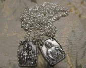 Silver Scapulary of Our Lady Mt Carmel & Sacred Heart Jesus Religious Catholic necklace pendant Lot