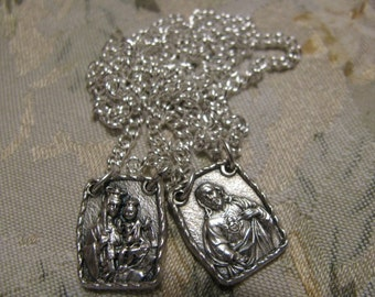 Reserved kh Silver Scapulary of Our Lady Mt Carmel & Sacred Heart Jesus Religious Catholic necklace pendant Lot