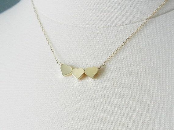 Tiny heart necklace, gold triple heart, sweet and simple jewelry