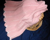 Pink and White Zigzag Afghan