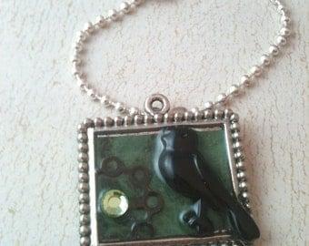 Black Bird and Cog Steampunk Necklace