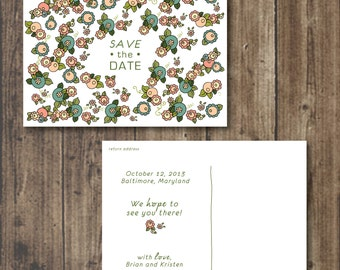 Printable Save the Date, RUSTIC Garden, Floral 5x7 Postcard