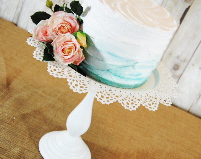 One Whimsical antiqued style Pedestal Cake Stand - Any color available.