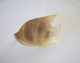 Vintage MOP Carved Fish Brooch Pin