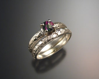 Mystic Topaz Wedding set Sterling Silver ring made to order in your size