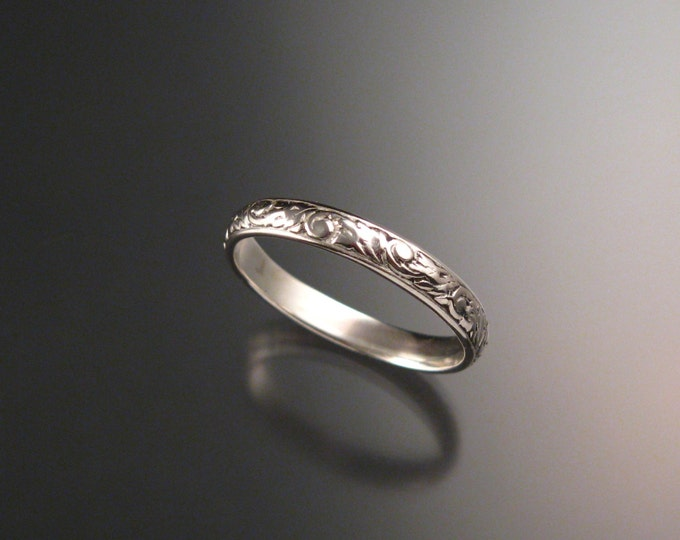 14k white Gold 3.25 mm Floral pattern Band wedding ring made to order in your size Victorian wedding band