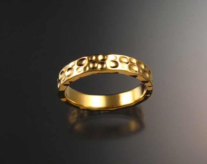 Heavy 14k Yellow Gold Moonscape Wedding band Unique Handmade ring made to order in your size