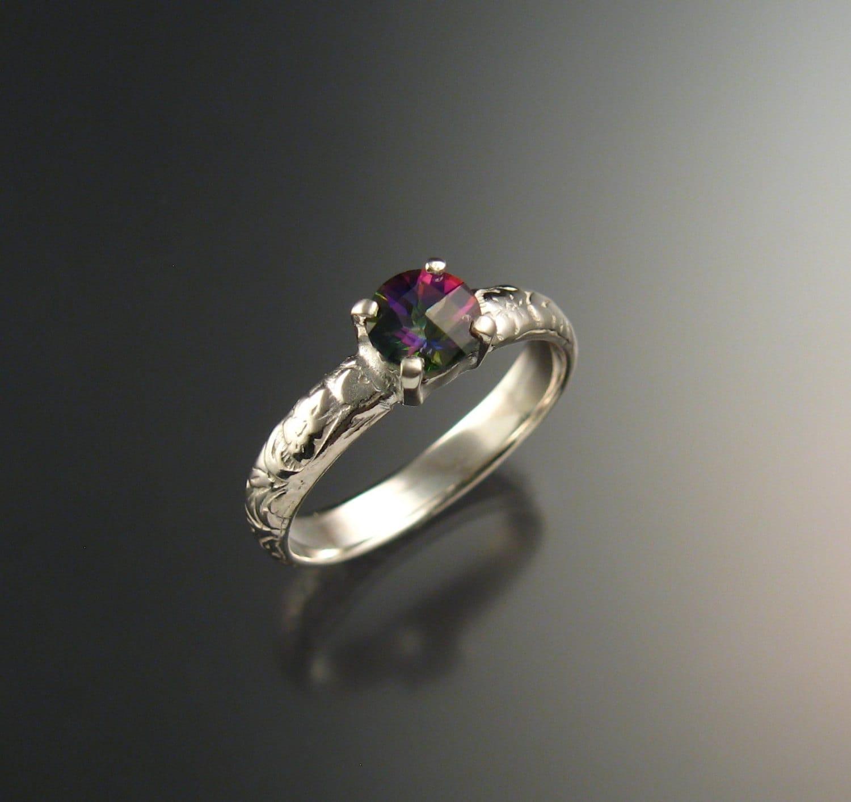Mystic Topaz Wedding Ring 14k White Gold Ring By