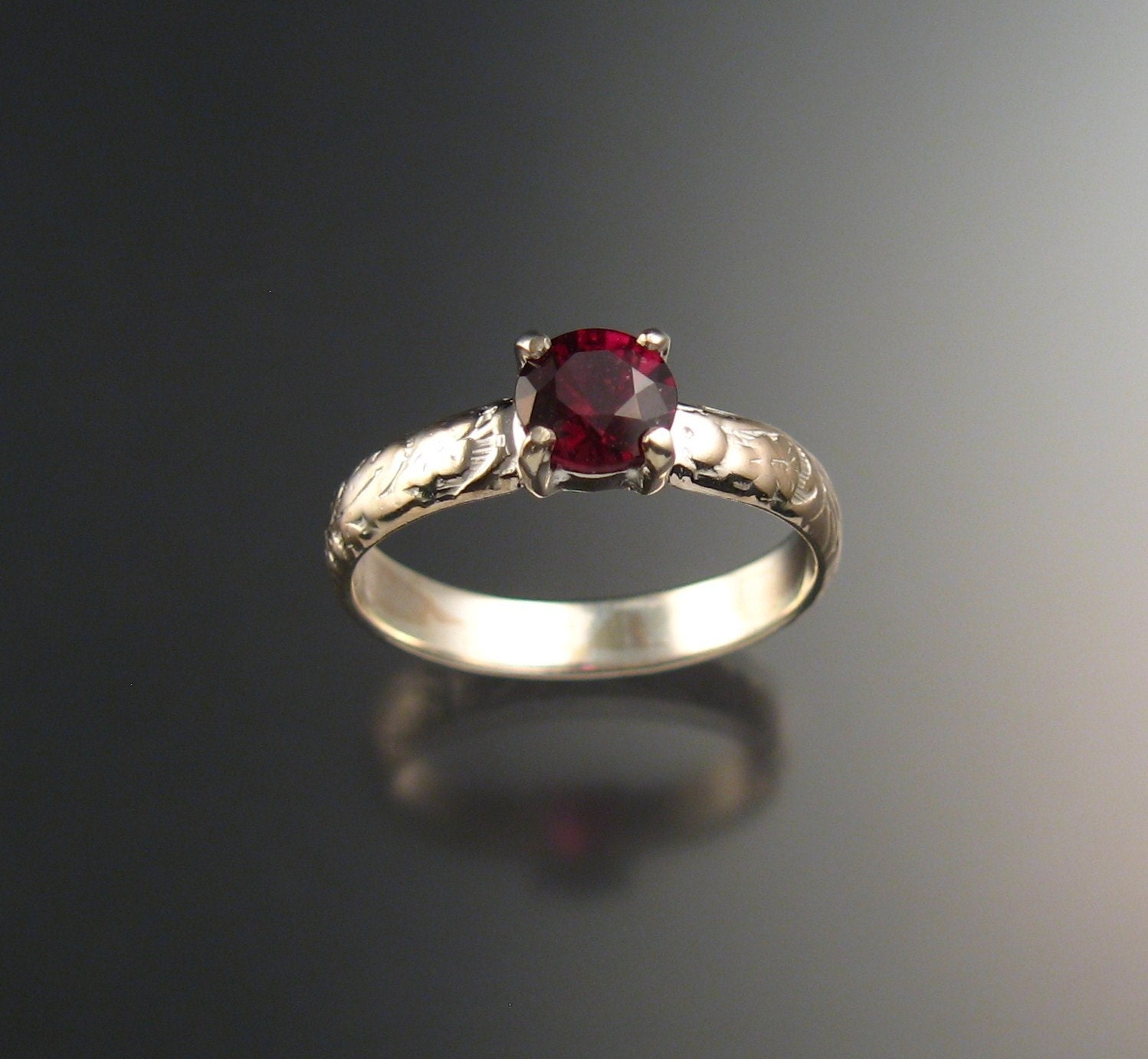 garnet wedding ring sterling silver ruby substitute ring made to