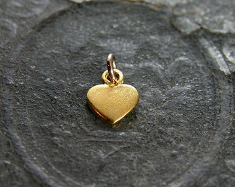 Gold Vermeil Heart Charm, Small Artisan Custom Initial Hand Stamped Pendant - Add a Dangle