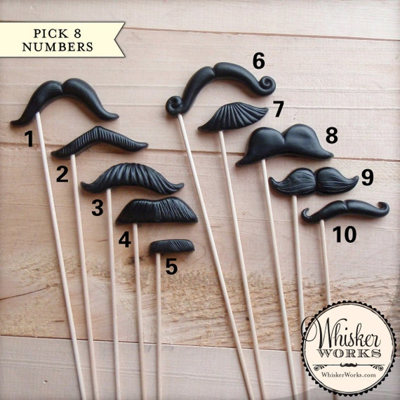 Plastic Mustaches on Sticks - Choose Your Own - Set of 8