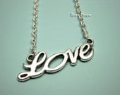 LOVE Necklace - stainless steel chain cute necklace romantic jewelry gift for her silver tone custom length Signature Love Necklace szeya
