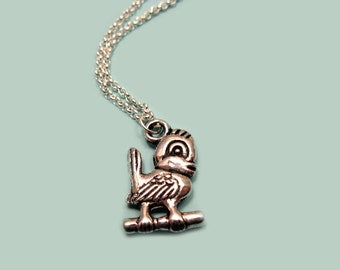 Bird on Branch Necklace - stainless steel chain cute necklace bird necklace woodland animal jewellery kawaii jewelry custom length