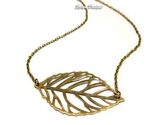 skeleton leaf necklace vintage antique inspired retro