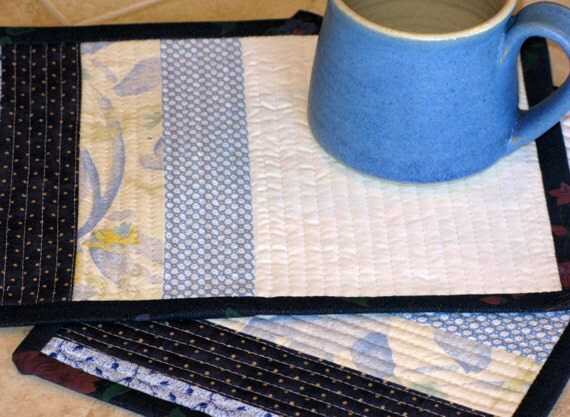 Quilted Mug Rugs, Table Quilts, Coasters, Candle Mats, Lunch Mats, Placemats, Table Toppers -- Set of 2