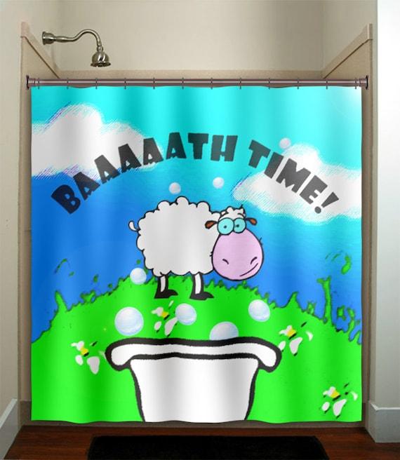 Bath Time Sheep Children Boy Kid Shower Curtain By