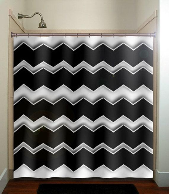 Black And White Chevron Bathroom Rug: Any Custom Colors Chevron Shower Curtain By TablishedWorks