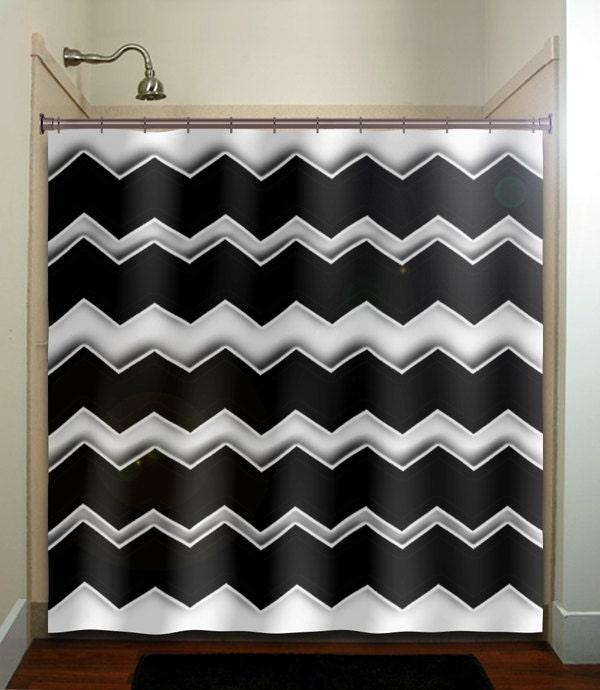 Any Color Chevron Shower Curtain Bathroom Decor Fabric Kids Bath White Black