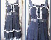 Vtg.70s Blue White Polkadot Corset Lace Prairie Sun Dress by Rags San Francisco.S.Bust 36.Waist 28.