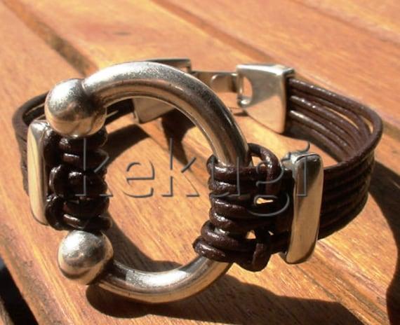 ring bracelet, Men's bracelets, mens silver bracelet, Brown leather bracelet, Men's Jewelry, bracelets for him, best gifts for men, kekugi